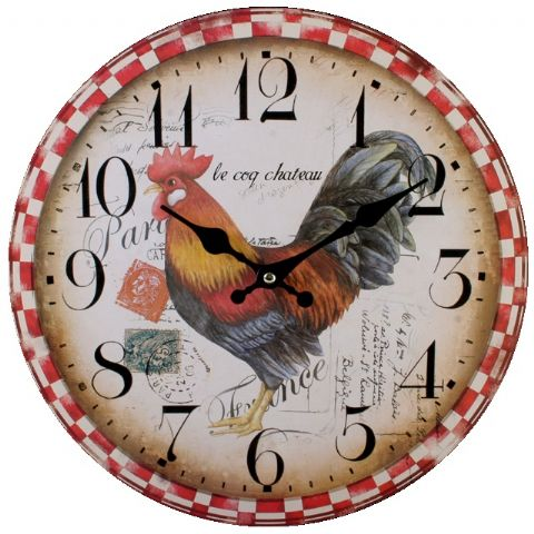 Cockerel 76311 - Large Rustic Retro Kitchen Wall Clock 34cm